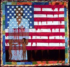 'The Flag Is Bleeding': A very terrifying, strange, and beautiful painting by incredible artist Faith Ringgold. American Flag Art, African American Artist, American Artists, American History, Black Panthers, Faith Ringgold Art, Activist Art, Renaissance Artists, Harlem Renaissance