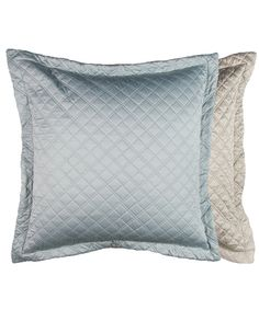 Silk & Sensibility Reversable & Washable Quilted Euro Silver/ Blue 32x32
