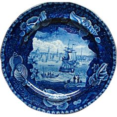 For your consideration is this beautiful rare American Historical Dark Blue Staffordshire plate View of Liverpool with Shell border by Enoch Wood and