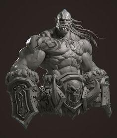 Creature Concept Art, Creature Design, Zbrush, Fantasy Kunst, Fantasy Art, Warcraft Orc, Warcraft Film, Orc Warrior, Sculpture Art