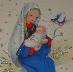 Vintage Christmas card, sweet Mary and baby Jesus, glitter 6 used Vintage Greeting Cards, Vintage Christmas Cards, Retro Christmas, Vintage Holiday, Xmas Cards, Christmas Art, All Things Christmas, Winter Christmas, Christmas Themes