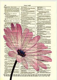 Pink Flower Dictionary Art Print Flower Art Dictionary Print Dictionary Page Wall Decor Mixed Media Collage 019 Mixed Media Collage, Collage Art, Daisy Art, Newspaper Art, Newspaper Painting, Book Page Art, Dictionary Art, Bible Art, Book Crafts