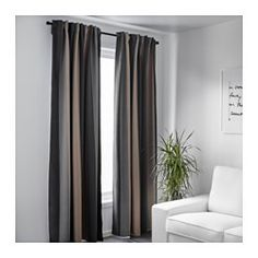IKEA - PRAKTLILJA, Block-out curtains, 1 pair, , The curtains prevent most light from entering and provide privacy by blocking the view into the room from outside.Effective at keeping out both drafts in the winter and heat in the summer.The curtains can be used on a curtain rod or a curtain track.The heading tape makes it easy for you to create pleats using RIKTIG curtain hooks.You can hang the curtains on a curtain rod through the hidden tabs or with rings and hooks.
