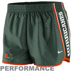 $33.95 Nike Miami Hurricanes Womens Chainmaille Pacer Performance Shorts - Green