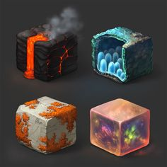 materials study on cubes) Texture Drawing, Texture Art, Texture Painting, Digital Painting Tutorials, Digital Art Tutorial, Art Tutorials, Game Textures, Digital Texture, Isometric Art