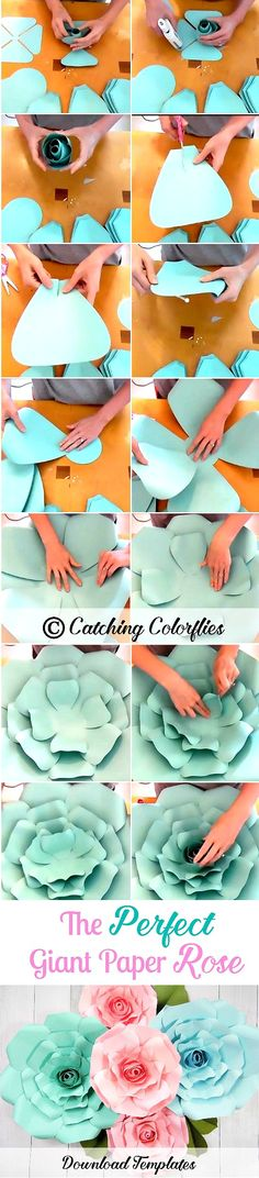 Giant Paper Rose Templates. Step by step rose flower tutorial. Paper Flower Wall. DIY Paper Flowers. CatchingColorflies.com