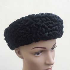 Vintage 60s persian lamb #black fur hat pillbox #russian #style wool cap medium,  View more on the LINK: http://www.zeppy.io/product/gb/2/111819504479/