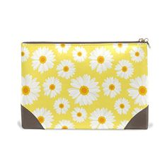 d0ec9bcc1102 Amazon.com   MMstyle Daisy Flower Yellow White Leather Large Cosmetic  Makeup Bag Toiletry Travel Organizer for Women Girls   Beauty