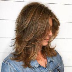 60 Most Universal Modern Shag Haircut Solutions Medium Shag With Peek-A-Boo Bangs Medium Long Hair, Medium Hair Cuts, Medium Hair Styles, Curly Hair Styles, Double Chin Hairstyles, Long Face Hairstyles, Wedding Hairstyles, Celebrity Hairstyles, Bob Hairstyles