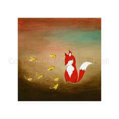Sharing Good News - art print featuring a fox and birds