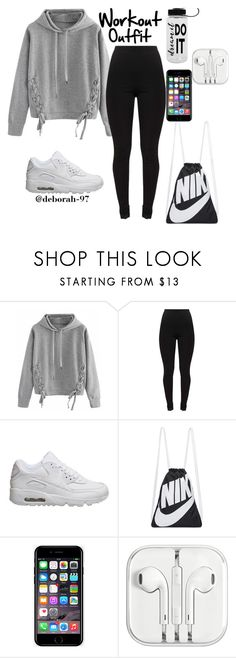 """""""Workout Outfit #1"""" by deborah-97 ❤ liked on Polyvore featuring WithChic, NIKE and Off-White"""