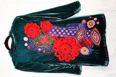 Unigunde, Dark Green Velvet Coat, Embroidered, Applique, Art, Gypsy, Boho, Hippie, Upcycled, Recycled, Eco Friendly, Reused,Size XS - S by unigunde on Etsy