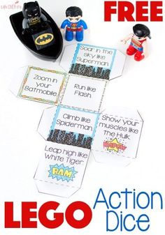 LEGO® and LEGO® DUPLO Super hero action game helps get kids moving!! This gross motor activity is fun for kids of all ages and is great for when you need the kids to burn off some energy!
