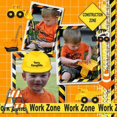scrapbook layout by Michelle Coughlin.... boys construction work zone.... cute!
