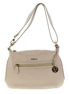 Furla Alida Pebbled Leather Handbag Shoulder Bag Crossbody Purse in Acero