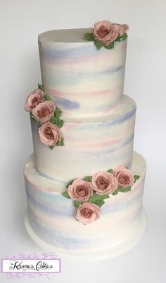 Georgia Georgia Watercolour Buttercream, and hand piped two tone Buttercream Roses, by Kerrie Wyer. #watercolor #painting #cake-hand-painted #cakecentral