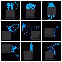 "Universe of goods - Buy ""Blue-light Luminous Switch Sticker Home Decor Cartoon Glowing Wall Stickers Dark Glow Decoration Sticker, Cat/Fairy/Moon Stars. Wall Stickers Cartoon, Cheap Wall Stickers, Kids Stickers, Wall Stickers Home, Moon Stars, Toilet Decoration, Cat Light, Home Decor Sets, Design Moderne"