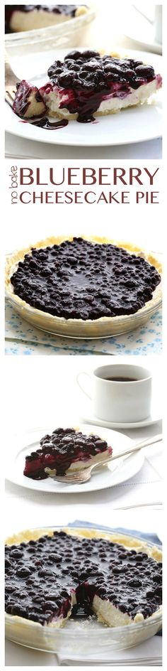 The best low carb no-bake dessert! Creamy cheesecake in an almond flour crust with sugar-free blueberry topping. Perfect for those days you just don't want to turn on the oven. Blueberry Cheesecake Pie, Low Carb Cheesecake, Cheesecake Recipes, Thm Recipes, Blueberry Topping, Blueberry Syrup, Low Carb Deserts, Low Carb Sweets, Cook Desserts