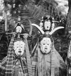 Igbo okoroshi masquerade, Nigeria. Photo by G. I. Jones, 1930s