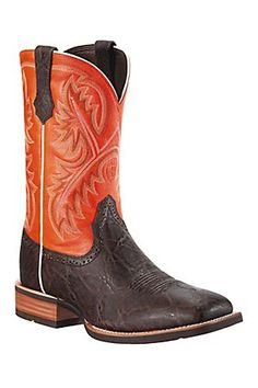 Ariat Quickdraw Men's ChocolateElephant Print w/Orange Top Square Toe Cowboy Boots