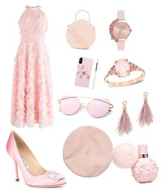 """Untitled #14"" by elena-ghitulescu on Polyvore featuring Mansur Gavriel, Chicwish, Manolo Blahnik, Olivia Burton and Lizzie Fortunato"