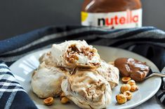 Nutella Hazelnut Meringue Cookies — The Sweet & Sour Baker Hazelnut Meringue, Hazelnut Cookies, Nutella Recipes, Cookie Recipes, Meringue Cookies, Biscuits, Deserts, Ice Cream, 7 Months