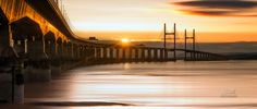 Second Severn Crossing Bridge between England and Wales panorama. Second Severn Crossing Bridge sunset panoramic Canvas prints for sale.