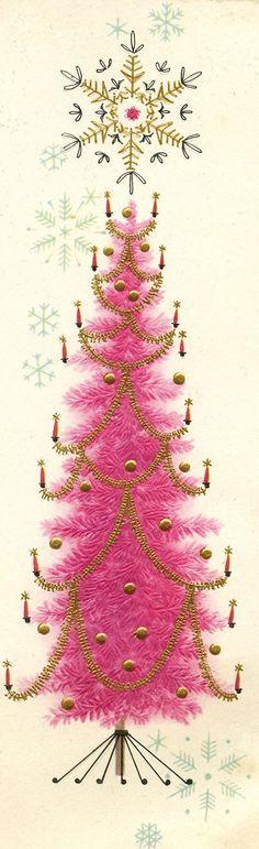 Vintage Christmas tree card.