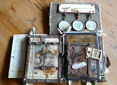 Another mixed media sculpture book by Nina Bagley. She will be teaching a… Book Libros, Art Journal Pages, Art Journals, Altered Book Art, Mixed Media Sculpture, Mixed Media Journal, Mixed Media Jewelry, Assemblage Art, Handmade Books