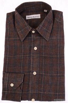 RUBINACCI Napoli Gray Plaid Cotton-Linen Casual Shirt EU 39 NEW US 15.5 M