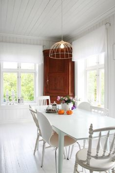 Love white ..the cabinet in the back corner is almost distracting but love the colors placed on the table