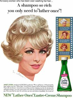 Janet Leigh~ Lustre-Creme shampoo, ART by Jon Whitcomb...