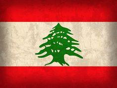Lebanon Flag Vintage Distressed Finish Mixed Media