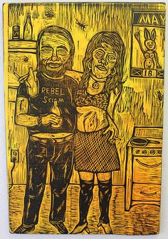 Charles Bukowski Rebel Scum Woodcut  #art #prints #printmaking #woodcut #woodcuts #outlawprintmakers #woodcutfunhouse #color #bukowski