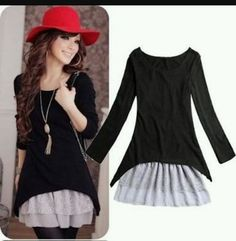 f2eca98d2801aa Pink/Black Korean Casual Style Ladies Clothing Cotton Knitted Top+Strap Lace  Dresses For Women New 2014 Spring Autumn(China (Mainland))