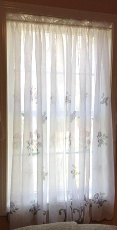 One Pair of Pretty White Sheer Curtains with purple flower design x by CurtainsAnonymous on Etsy Vintage Curtains, Shabby Chic Curtains, Diy Curtains, White Sheer Curtains, All White, Window Coverings, Purple Flowers, Flower Designs, Floral