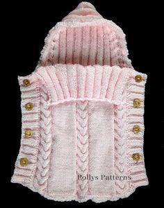 Crochet Patterns Sleep Sack Knitting Pattern Baby Sleeping Bag Cocoon by ToysWereUsPatterns Baby Knitting Patterns, Pattern Baby, Baby Cardigan Knitting Pattern, Baby Hats Knitting, Baby Patterns, Free Knitting, Crochet Patterns, Knitting Needles, Crochet Cozy