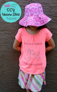 """Such an adorable shirt idea! """"Unicorn Wishes and Butterfly Kisses!"""" Kids feel extra special when they wear handmade clothing made with love. Learn how to make a DIY Unicorn Shirt with your Cricut Explore. Such a great Cricut project to make cute kids clot Unicorn Themed Birthday Party, Birthday Crafts, Birthday Ideas, Birthday Fun, Creative Kids, Creative Crafts, Unicorn Pictures, Shirt Tutorial, Unicorn Crafts"""