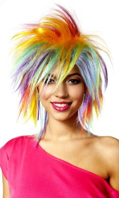 80's Funky Fresh Rainbow Wig - Candy Apple Costumes - Kids' Clown Costumes