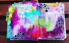 A little abstract art on this beautiful day! Compared to yesterday I'm quite pleased with this one... #mixedmedia #artjournaling #artjournal #stamping #abstractart