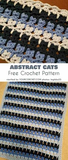 Abstract Cats Free Crochet Pattern Perfect Blanket for baby boy A beautiful stitch for the next baby blanket. It has an intriguing texture to contemplate and cute little cats' paws in a rows; Crochet Afghans, Crochet Blanket Border, Boy Crochet Patterns, Baby Boy Crochet Blanket, Crochet Cat Pattern, Blanket Yarn, Crochet Baby, Free Crochet, Free Pattern