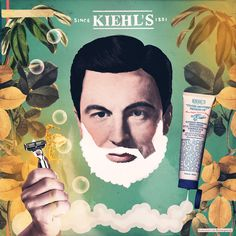 Laurindo Feliciano #illustration #beauty #shaving #beard #kiehls #advertising #men #grooming #lotion #collage