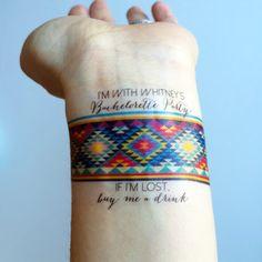 Bachelorette parties 516225176034237672 - 7 Custom Bachelorette Party Temporary Tattoos – Aztec Bracelet Source by lilipopkoala Forearm Tattoos, Arm Band Tattoo, Body Art Tattoos, Tatoos, Wrist Tattoo, Brides With Tattoos, Tattoos For Women, Tattoos For Guys, Neue Tattoos