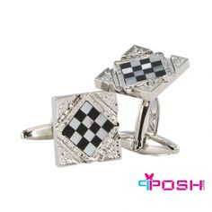 - Silver toned cufflinks with enamel checkerboard design - For wearing with french cuff men's shirts - Unique design will turn heads Dimensions: Length: Face: x POSH by FERI - Passion for Fashion - Luxury fashion jewelry for the designer in you. Fashion Accessories, Fashion Jewelry, Luxury Fashion, Mens Fashion, Men's Collection, Shopping Hacks, Gabriel, Passion For Fashion, Bracelet Watch