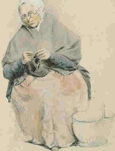 """""""Old Guernsey Lady knitting"""" Acuarela Peter Le Lievre Knitting Humor, Knit Art, Sewing Cards, Photo Craft, Textile Art, Vintage Sewing, Art Lessons, Fiber Art, Painting & Drawing"""