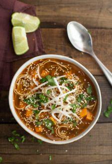 Sweet Potato Sriracha Noodle Soup
