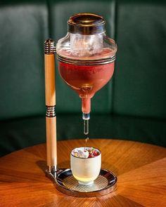 """Naju Punch"" at Poached Korean Pear Ratafia Cherry Jam Acai soda . Cocktail Garnish, Cocktail Drinks, Cocktail Recipes, Cocktail Glass, Bar Drinks, Alcoholic Drinks, Beverages, Cafe Bar, Classic Cocktails"
