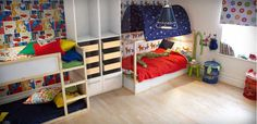 """Idea for the boys room. Two IKEA Kura beds. The beds can be """"flipped"""" to be either close to the ground or a higher bunk. Julian would love the tent over his part."""
