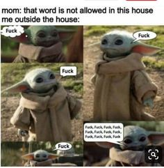 "her favorite ""F"" word. Really Funny Memes, Haha Funny, Funny Stuff, Funny Shit, Starwars, Yoda Meme, Dark Sense Of Humor, Kid Memes, Funny As Hell"