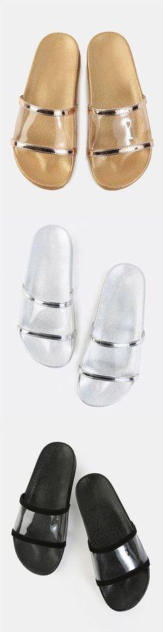 Open Toe Lined Slide Sandals BLACK